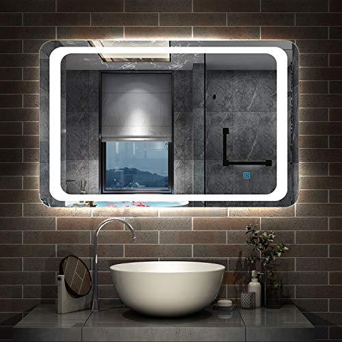 AicaSanitär LED Spiegel 70×50cm Badspiegel mit Beleuchtung Lichtspiegel Badezimmerspiegel Dekorative Wandspiegel Touch-Schalter Antibeschlag IP44 Kaltweiß energiesparend