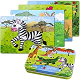 BBLIKE Jigsaw Wooden Puzzles Toy in a Box for Kids, Pack of 4 with Varying Degree of Difficulty Educational Learning Tool Best Birthday Present for Boys Girls (Cebra Jirafa Canguro)