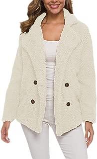 Macondoo Women Long Sleeve Lapel Fall Winter Double Breasted Sherpa Coat Jacket