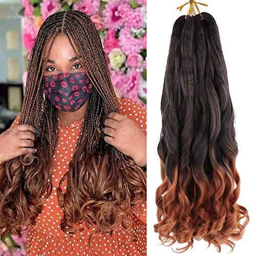 Spanish Curly Braids Hair 7 Pack Loose Wavy Spiral Curl Braids French Curl Crochet Braid Deep Wave Synthetic Hair Extensions Pre Stretched Bouncy Braiding Hair 22 inch 75g/pack (22 inch (7 pack), #TB/30)