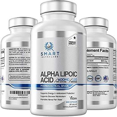 Alpha Lipoic Acid 600mg Per Serving, 240 Vegan Capsules- Pharmaceutical Grade, Gluten Free, Pure Non-GMO ALA- Supports Healthy Blood Sugar, Energy & Anti Oxidant