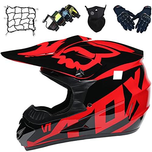 Casco Moto Niños, Conjunto Cascos de Motocross Unisex, Cascos de Choque de Motocicleta Todoterreno de Cara Completa para Adultos para Descenso MTB ATV Dirt Quad Bike MX - con Diseño Fox - Negro Rojo