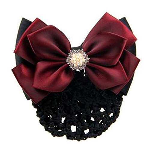 2 pcs bowtie maille cheveux barrette snood élastique coiffure coiffure pour les dames, Vin rouge