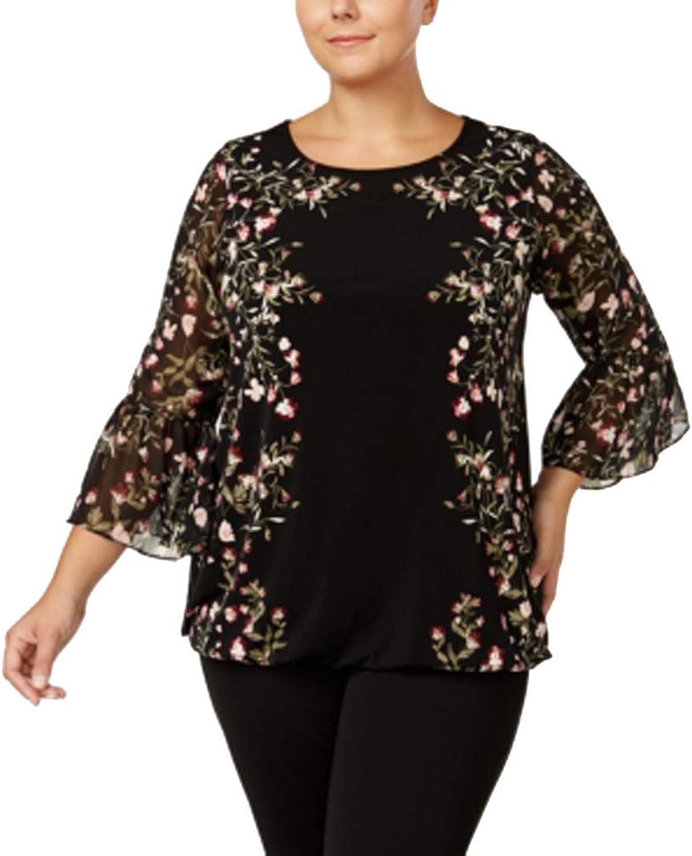 Alfani Plus Size FloralPrint BellSleeve Blouse