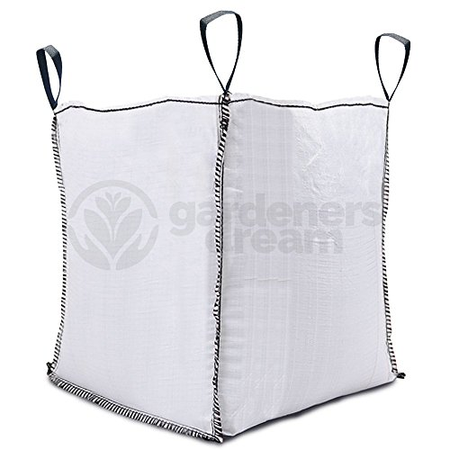 Saco blanco resistente y con asas de GardenersDream,gran capacidad de 1.000kg