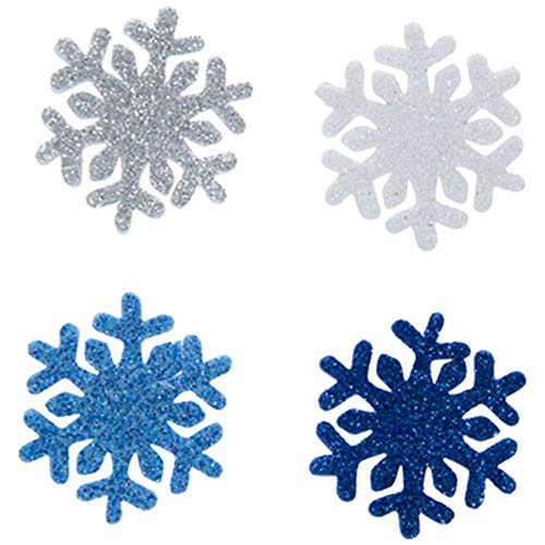 70 Pieces Blue, Silver and White Glitter Snowflake Foam Stickers Christmas Hanukkah Crafts