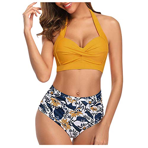 VEZARON Two Pieces Bikini Sets Swimsuit Sports Style Low Top High Waisted High Cut Cheeky Bottom