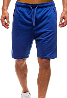 SHOWNO Mens Elastic Waist Fashion Drawstring Sport Gym Workout Shorts