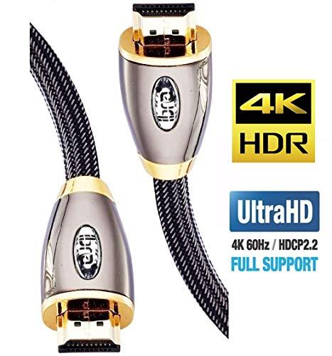 Preisvergleich Produktbild 4K HDMI Kabel 3M HDMI 2.0b Kabel 4K@60Hz HighSpeed 18Gbps Nylon Geflecht Vergoldete Anschlüsse mit Ethernet / Audio Rückkanal, Kompatibel mit Video 4K UHD 2160p, HD 1080p, 3D Xbox PS4 - IBRA RED