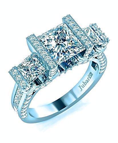 Amazon Com 3 Stone Princess Cut Engagement Ring 2 52 Ctw Diamond Tension Set Channel Shank Custom Jubariss 18k White Gold Handmade