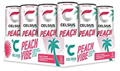 Pre-Workout Drink Your Ultimate Fitness Partner Healthy Energy, 200 mg Caffeine Energy to Live Fit Zero Sugars, Zero Preservatives No Artificial Flavors or Colors Limited Edition Sparkling Peach Vibe, 12 oz. Slim Can