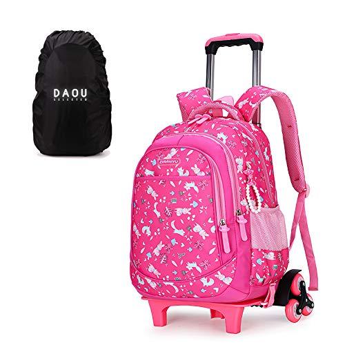Mochila con ruedas, mochila escolar, niños, primaria, escolar, niña, niña, equipaje, cabina, bolsa de viaje con ruedas, 31 x 18 x 45 cm Rose Rouge-6 6 Roues