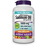 Webber Naturals Wild Alaskan Salmon Oil Softgel, 200mg 180 Count