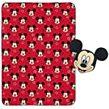 Mickey Mouse Plush Pillow and 40' Inch x 50' Inch Throw Blanket - Kids Super Soft 2 Piece Nogginz Set (Official Product)