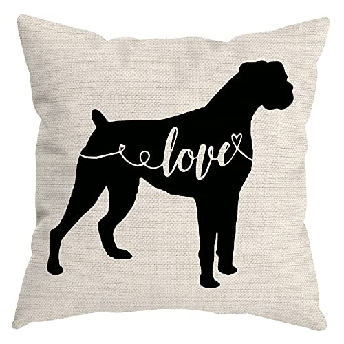 HUYAW Boxer Dog Love Throw Pillow Cover, Boxer Lover Gifts for Dog Mom Dad, Boxer Pillow case 18 x 18 Inch Home Room Bed Sofa Decor