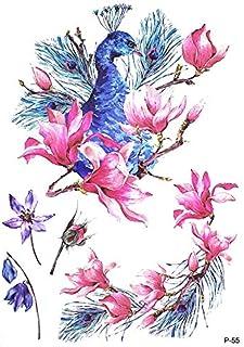 Tatuajes de flores pavo real P55