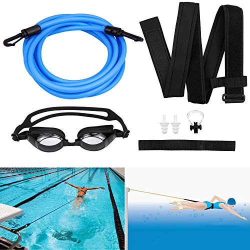 Yotako - Cinturones de entrenamiento de natación, correa de entrenamiento de natación, arnés de natación, cuerdas elásticas de natación y 1 gafas de natación con clip de nariz gratis (azul)