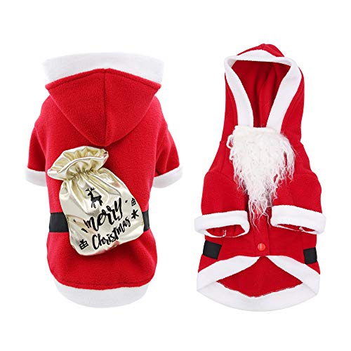 ISPET Santa Dog Costume for Small Medium Dogs, Dog Cat Santa Claus Coat Pet Outfit Dog Xmas Costumes Small, Red