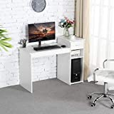 Topeakmart Small White Computer Desk with Drawers...