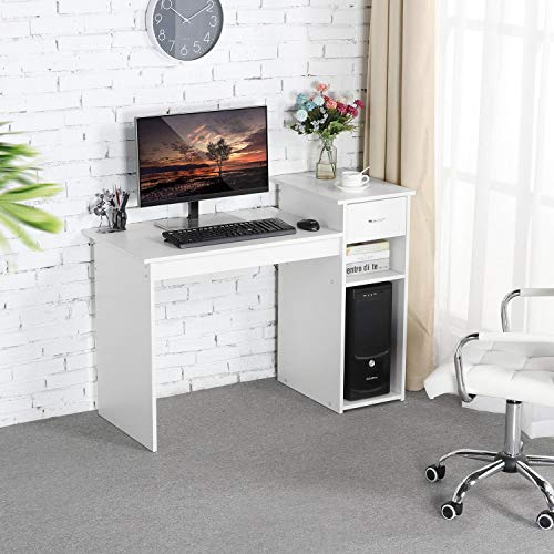Topeakmart White Student Computer Desk with Drawer and Shelf Home Office Laptop Table Study Workstation Furniture Wood Heavy Duty