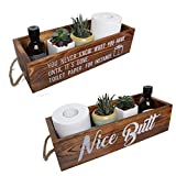 Rustic Bathroom Decor Box, 2 Sides with Funny Sayings - Unique Gift, Farmhouse Bathroom Decor, Toilet Paper Holder, Rustic Wood Organizer Box for Bathroom, Kitchen (Brown)