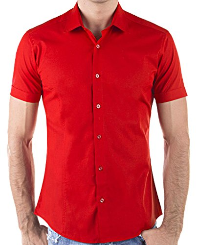 Redbridge by Cipo & Baxx Slim Fit Kurzarm Hemd Business Hochzeit Freizeit (S, Rot - Red)