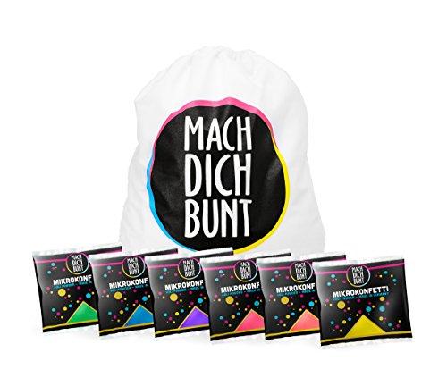 Mach Dich Bunt GmbH Mikrokonfetti Set, 6 Farben, inkl. Rucksack - Bereit für Das nächste Holyfestival,Party oder EIN Shooting