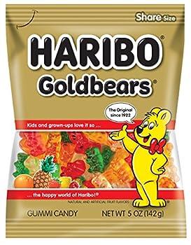 Haribo Gummi Candy Goldbears Gummi Candy 5 oz Bags  Pack of 12