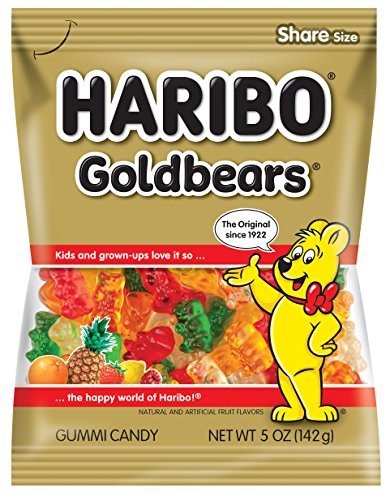 Haribo Gummi Candy, Goldbears, 5 oz Bags (Pack of 12)