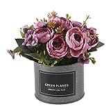 Flores Artificiais, YESZ Wedding Party 1Pc vaso Bonsai DIY Stage Decor Jardim Props - roxo