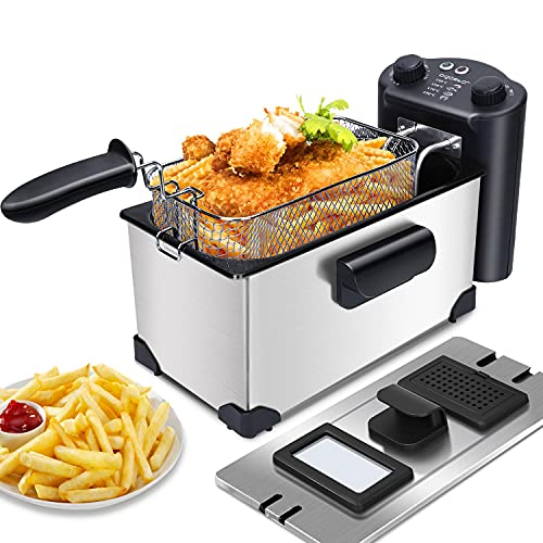 Aigostar Deep Fat Fryer 2200W, 3L, Timer Chip Fryers with Viewing Window, Removable Non-Stick Oil Basket, Temperature Control, Stainless Steel, Silver - Kenny 30RFV