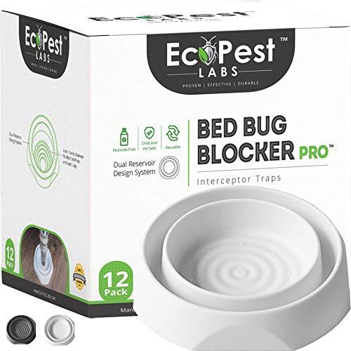 Bettwanzen Detektor – 12er Pack | Bettwanzenfalle Bed Bug Blocker (Pro) | Bettwanzen Test (Weiß) | Insektenfalle, Wanzen Monitor und Detektor für Bettbeine