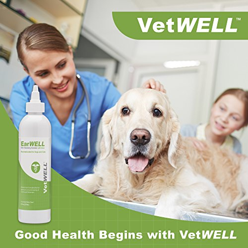 VetWELL Ear Cleaner for Dogs and Cats - Otic Rinse for Infections and Controlling Yeast, Mites and Odor in Pets - 8 oz (Cucumber Melon)