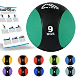 MSPORTS Medizinball 1 – 10 kg – Professionelle Studio-Qualität inkl. Übungsposter...