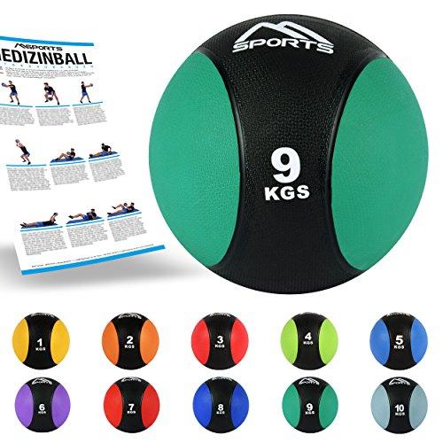 MSPORTS Medizinball 1 – 10 kg – Professionelle Studio-Qualität inkl. Übungsposter Gymnastikbälle (9 kg - Smaragdgrün)