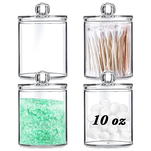 Lot de 4 boîtes de rangement en acrylique transparent pour cotons-tiges, cotons-tiges, sels de bain, maquillage