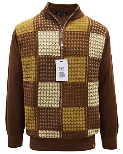 STACY ADAMS Men's Sweater, Multi Square Houndstooth Pattern (3XL, Brown)