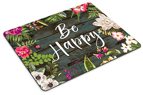 Smooffly Floral Mouse Pad Motiavation Quote Be Happy Neoprene Inspirational Quote Mousepad Office Space Decor Home Office Computer Accessories Mousepads Watercolor Vintage Flower Design Photo #5