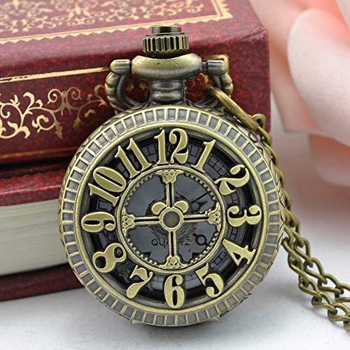 CMHC Enfriar Reloj Colgante de Collar de Regalo del Recuerdo de Steampunk Diseño Retro de Bronce Reloj de Bolsillo del Cuarzo de Regalo Collar (Color : As Photo)