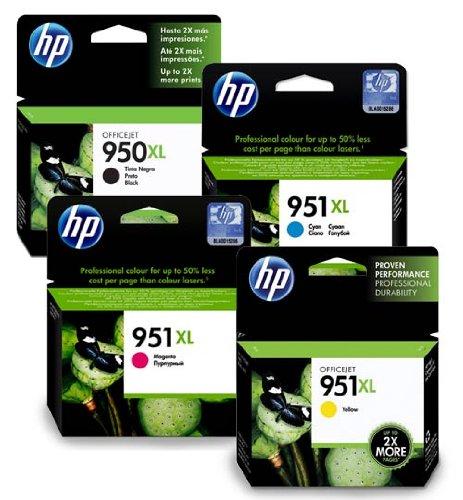 HP - 4 cartucce d'inchiostro per stampante HP Officejet Pro 8600, colore: Cyan, Giallo, Magenta, Nero con chip