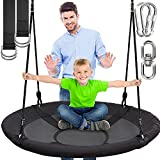 SereneLife 40 Inch Giant Outdoor Saucer Tree Swing with Hang Kit and Center Spinner -...