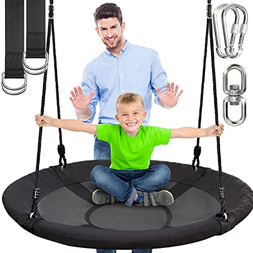 SereneLife 40 Inch Giant Outdoor Saucer Tree Swing with Hang Kit and Center Spinner - Round Hanging Circular Flying Saucer w/Rope Straps & Sturdy Steel Frame, Polyester Fabric Seat for Kids (Black)