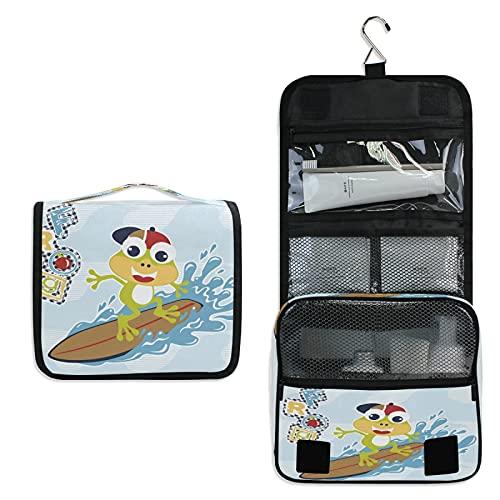 Grenouille De Surf Trousse de Toilette à Suspendre Rangement MaquillageSac Voyage Portable Pliable Salle de Bain Trousse de Cosmétique pour Femmes Filles
