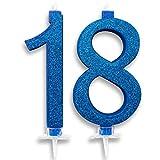 Velas Maxi 18 años para tarta fiesta cumpleaños 18 años | Decoraciones Velas Auguri Aniversario Tarta 18 | Altura 13 cm (azul)