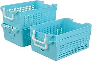 Pekky Small Plastic Handle Baskets, Classroom Organization Baskets, 4 Packs
