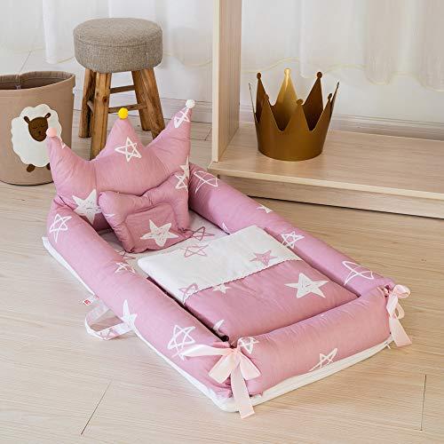 Decdeal 4in1 Babynestchen Set Krone-Form Kuschelnest Reisebett aus Baumwolle Inkl. Matratze, Steppdecke, Kissen und Geländern