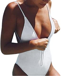 Kintaz Women Swimsuit, Zipper Front Deep V Neck Baywatch-Inspired One Piece Swimsuit With High Cut and Low Back For Women