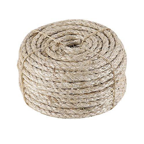IZSUZEE Sisalseil für Kratzbaum, 7mm (30 Meter) Seil, Natürliches Sisalseil, Geeignet für Gartendekoration, Katzenbaum, Katzen Zubehör, Naturfaser, MEHRWEG