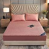 BOLO Suave cama hecha de 100% algodón, protector de colchón transpirable, cubrecolchón, colchón, sábana bajera de microfibra cepillada, 150 x 200 + 25 cm