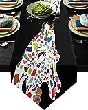 FAMILYDECOR - Camino de mesa de arpillera de lino (13 x 200 cm), diseño de jirafa con texto en inglés 'Love Farmhouse' para fiestas de vacaciones, comedor, cocina, decoración de bodas